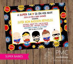 Superhero Baby Shower Invitation Baby Superheroes Superhero