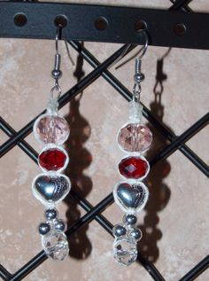 Pink, red and clear faceted crystal earrings with silver hearts and accents, hemp jewelry by ExquisitelyOriginal for #ValentinesDay!