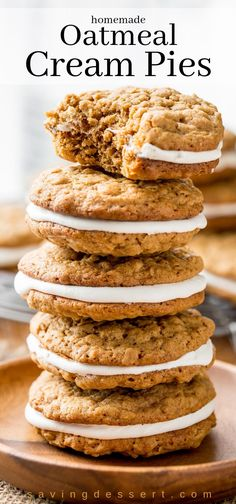 Oatmeal Cream Pies - Saving Room for Dessert Oatmeal Cream Pies - soft, chewy oatmeal cookies with hints of cinnamon, molasses and coconut, with a sweet marshmallow cream filling. Little Debbie Copycats! Köstliche Desserts, Delicious Desserts, Dessert Recipes, Yummy Food, Healthy Food, Healthy Eating, Healthy Meals, Lemon Desserts, Plated Desserts