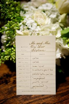LOVE this library card-themed centerpiece detail | http://www.weddingpartyapp.com/blog/2014/09/19/best-venue-ideas-vintage-inspired-wedding/