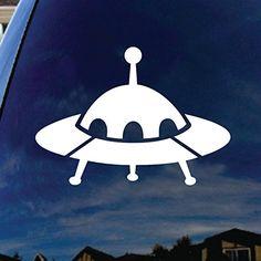 """UFO Alien Spaceship Car Window Vinyl Decal Sticker 5"""" Wid..."""