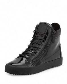 f2e5ef52c70a Giuseppe+Zanotti+Men s+Patent+High+Top+Sneakers+