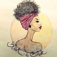 #afro #negro #ilustração #arte #aquarela