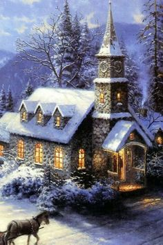 An Old Fashioned Christmas Church Vintage Christmas Images, Old Christmas, Old Fashioned Christmas, Christmas Scenes, Victorian Christmas, Christmas Pictures, Beautiful Christmas, Christmas Cookies, Illustration Noel