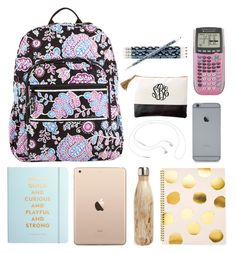 """""""what the heck is in my backpack"""" by conleighh ❤ liked on Polyvore featuring Vera Bradley, Kate Spade, S'well, Sugar Paper and Samsung"""