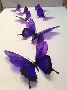 7 Deep Purple Luxury Amazing in Flight Butterflies 3D Butterfly Wall Art by MyButterflyLove on Etsy https://www.etsy.com/ca/listing/175618016/7-deep-purple-luxury-amazing-in-flight