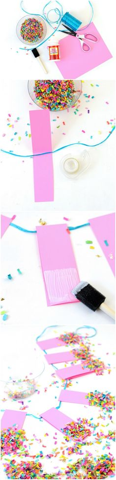 Do you want to learn the easiest way EVER to make a banner? Here it is! Use cardstock, Mod Podge, confetti - ANYONE can do it! via @modpodgerocks