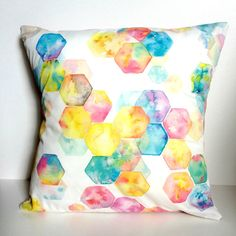 Hexagon Rainbow MultiColour Cushion Cover by corejewellery