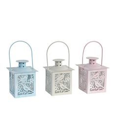 Pastel Bird Tealight Lantern Set