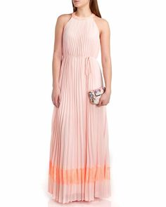 37d32b14effd0 Ted Baker Pleated Dress Maxi Gown Full Length Halter Lace Silk NEW  375 1 S