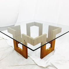 : Mid Century Modern Glass Top Coffee Table