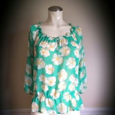 Old Navy Sheer Top Excellent condition. Super cute! Very light sheer top, 100% polyester, in aqua/ yellow/ white colors. 3/4- Sleeve. From OLD NAVY. Old Navy Tops