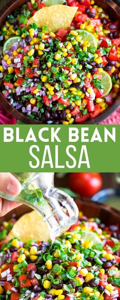 This healthy and delicious Black Bean Salsa is perfect as a dip, taco topper, party appetizer, and even as a taco salad mix-in too! It doubles as a snack and a side dish and the leftovers taste AMAZING too! Best Vegetarian Recipes, Easy Delicious Recipes, Veggie Recipes, Whole Food Recipes, Yummy Food, Yummy Appetizers, Appetizer Recipes, Bean Salsa, Party Dishes