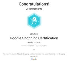 Google Shopping Certification, May 12th 2018