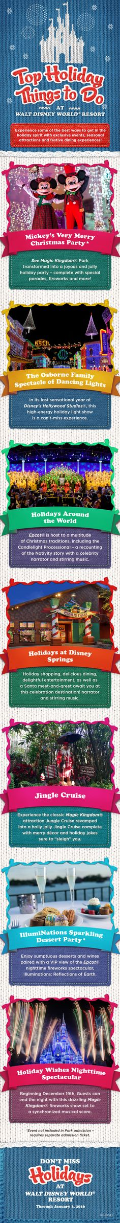 All through Walt Disney World Resort, you'll find special holiday events, entertainment and attractions including Mickey's Very Merry Christmas Party and the Osborne Spectacle of Dancing Lights!