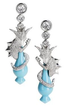 'My Little Dragon', a handcrafted, one-off creation with 18kt white gold, diamonds and turquoise, Stefanie Volkmer-Otto