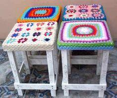 Fundas P/ Banco-banquito Tejida Crochet Ultima Moda