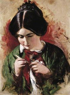 The Crochet-Worker (Mary Ann Purdon)  by William Etty  Date painted: c.1844–c.1849