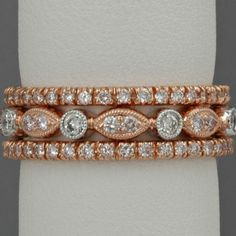 Rose gold and diamond stacking eternity bands:  gorgeous, classic