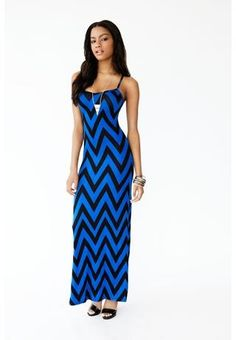 CHEVRON PRINT RACERBACK MAXI DRESS