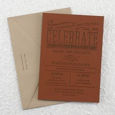This is a great one-of-a-kind invitation of faux leather for your theme-inspired or eccentric wedding.