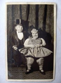 "Real photo post card showing circus sideshow attraction Bessie ""the smallest fat lady"" and her husband Tiny Major...circa 1920's-1930's."