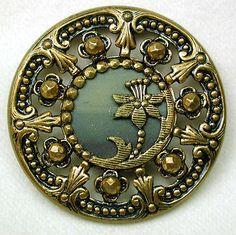 Victorian Pierced Celluloid Art Nouveau Button
