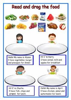 Read and drag. Food Language: English Grade/level: 3º School subject: English as a Second Language (ESL) Main content: Food Other contents: meals of the day English Lessons For Kids, Learn English Words, English Class, English Exam, Food Vocabulary, Vocabulary Worksheets, English Vocabulary, Flashcards For Kids, Worksheets For Kids