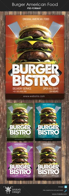 Burger American Food Flyer  #GraphicRiver                                Design created for restaurants , companys or Others.