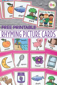 Use these free rhyming picture cards with the Down By The Bay song. Kids love matching the rhymes on the cards and using them to extend the classic song during circle time. Use with the song, book, or use them for matching activities....a fun way for teaching rhymes. The free printables are perfect for your preschool, SPED, pre-k, or kindergarten classroom....a silly way to introduce the early literacy concept of rhyming to young kids. #rhymingactivities #preschool Rhyming Kindergarten, Rhyming Activities, Preschool Songs, Preschool Printables, Preschool Learning, Classroom Activities, Preschool Language Activities, Circle Time Activities Preschool, Kindergarten Reading Activities