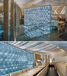 Drink it In: 14 Buildings Made from Plastic Bottles morimoto restaurant wall