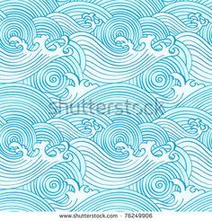 patrón de ondas sin fisuras japonesas en colores del océano