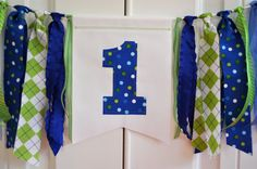 Fabric ONE highchair rag banner Boys blue & green by GiddyGumdrops