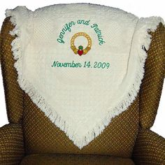 Irish Claddagh Celtic Wedding Blanket Personalized Embroidered - Perfect Wedding Gift Idea by CoutureWeddingHankie
