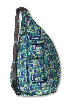 KAVU Rope Sling-Poly Mash-100% Polyester. The KAVU Rope Bag's fraternal twin the only difference is the fabric. Adjustable rope shoulder strap, two vertical zip compartments, two zip key/phone pockets, padded back with KAVU embroidery and ergonomic design to fit the body like a bag should.
