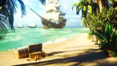 Relaxing ocean ambience with the sound of a wooden ship creaking in the wind, while waves crashing against the shore and seagulls squawking. Bring back your seaside memories with these calming ocean sounds from the tropical pirate island. Makes a nice 4K UHD screensaver for TV's and monitors as well Rendering Walls, 3d Rendering, Pirate Island, Ocean Sounds, Wooden Ship, 4k Uhd, Fabric Wall Art, Sky And Clouds, Beach Themes