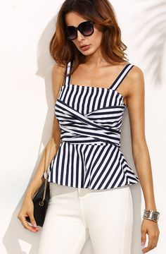 Black and White Striped Bow Tie Back Top