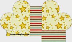 Estrellas Doradas y Rayas de Colores: Cajas para Imprimir Gratis.