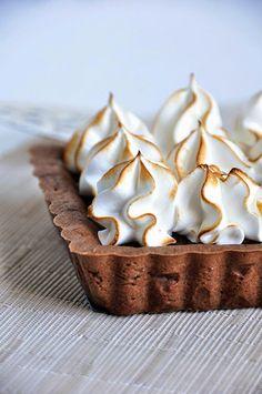Chocolate Caramel Hazelnut Tart with Toasted Meringue by sweetboake #Tart #Chocolate #Caramel