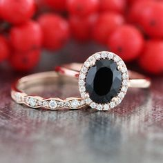 14k Rose Gold Black Spinel Diamond Engagement Ring by LaMoreDesign