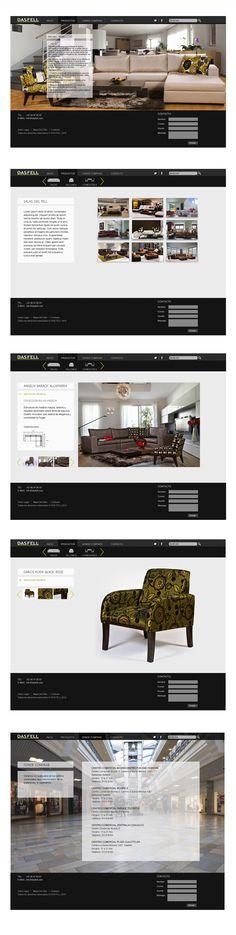 Diseño web para la mueblería Dasfell. Me pareció interesante cómo maneja los espacios, las estructuras de las páginas. Siempre destacando la imágen, recortada o rectangular, pero que siempre convive con los blancos y es protagonista.