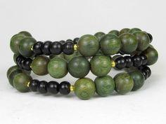 Green Sandalwood and Ebony Wood Spiritual Memory Wire Bracelet #bc212 by CycleofLifeDesign on Etsy