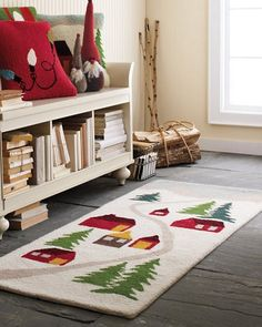 Hable Construction - Snowy Village Holiday Hooked Wool Rug, $198.00 (http://shop.hableconstruction.com/holidays/hooked-wool-rugs/snowy-village-holiday-hooked-wool-rug/)