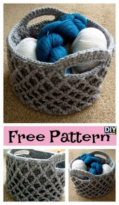Beautiful Crochet Round Basket – Free Pattern #freepattern #crochet #baskets #crochetbasket