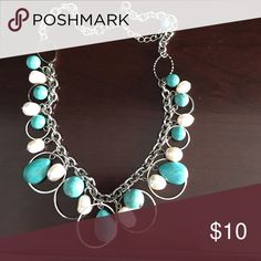 Pearl and turquoise necklace Water pearls and turquoise go great in this necklace. Never worn without tags. Park Lane Jewelry Necklaces