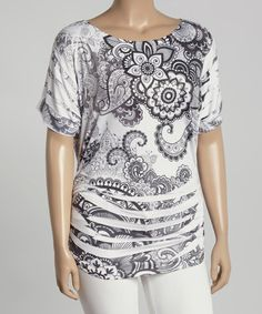 Another great find on #zulily! Black & White Paisley Sublimation Top - Plus by Poliana Plus #zulilyfinds