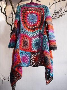 Crochet Granny Square Jacket Tutorial Pattern