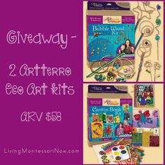 #Giveaway - 2 Artterro Eco Art Kits (Deluxe Bubble Wand Kit and Canvas Book Kit) ARV $58! US/CAN Ends 9/12, 9pm PST (post includes review of Bubble Wand Kit plus giant bubble fun) #kids #crafts