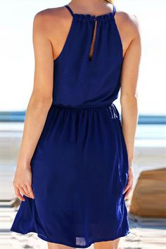 695b89a5eee96 Women Dark Blue Cutout Back Elastic Waist Sexy Chiffon Beach Dress - L Beach  Dresses,