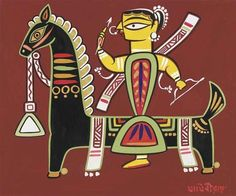 Jamini Roy - Untitled (Woman on Horseback)